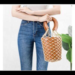 Melie Bianco Tan Abby Net Bucket Bag